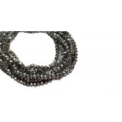 Koraliki szklane fasetowane 4x3mm srebrny sznur