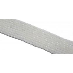 Koraliki szklane fasetowane 4x3mm mleczno-białe sznur