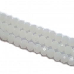 Koraliki szklane fasetowane 8x6mm mleczno-biały sznur