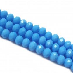 Koraliki szklane fasetowane 8x6mm niebieski sznur
