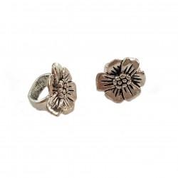 Przekładka na rzemień ozdobna kwiatek 18x17mm cyna - srebrny