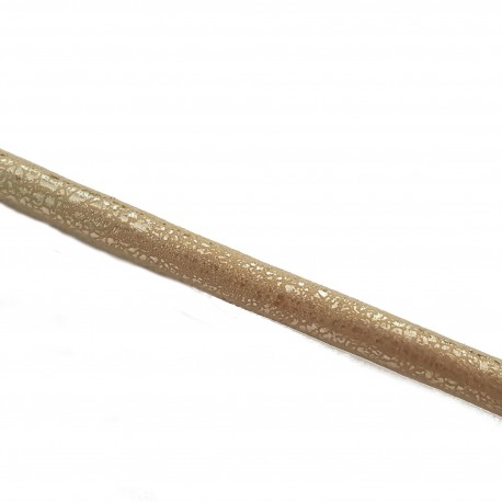 Rzemień szyty 7x6mm welur beżowy nakrapiany złotym / 1 metr