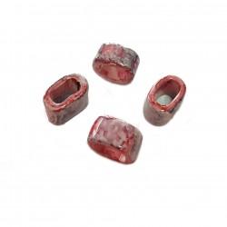 Przekładka z ceramiki ręcznie wykonana 20x11mm - różowo-szary