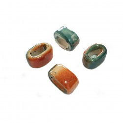 Przekładka z ceramiki ręcznie wykonana 20x11mm - pomarańczowo-zielony