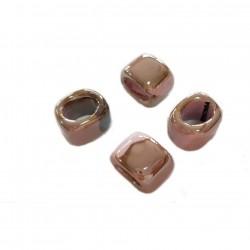 Przekładka z ceramiki ręcznie wykonana 20x14mm - beżowo-różowy