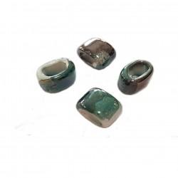 Przekładka z ceramiki ręcznie wykonana 20x14mm - stalowo-zielony