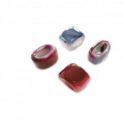 Przekładka z ceramiki ręcznie wykonana 20x14mm - niebiesko-różowy