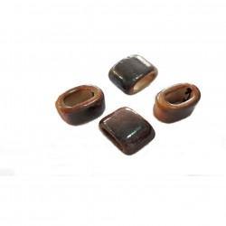 Przekładka z ceramiki ręcznie wykonana 20x14mm - rudo-brązowy