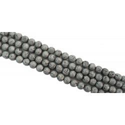 Lawa wulkaniczna 10mm platerowana sznur - srebrny