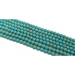 Jadeit 6mm gładka kulka sznur - turkusowy ze złotym