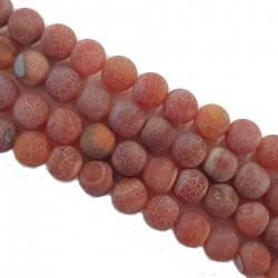 Agat druza 10mm kulka sznur - brzoskwiniowy