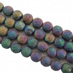 Agatowa druza 10mm fasetowana kulka sznur - fioletowy