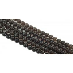 Kwarc dymny 10mm fasetowany kulka sznur - brązowy