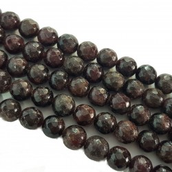 Granat 10mm fasetowany kulka sznur - ciemne bordo