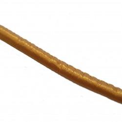 Rzemień szyty gładki 6x4mm skóra syntetyczna - metaliczny złoty