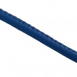 Rzemień szyty gładki 6x4mm skóra syntetyczna - niebieski