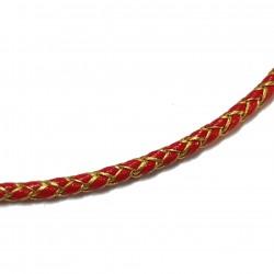 Rzemień pleciony 5mm skóra syntetyczna - czerwony ze złotym
