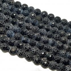 Agat spękany 10mm kulka fasetowana sznur - czarny