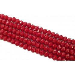 Szkło fasetowane, koraliki szklane fasetowane 8x6mm czerwony sznur