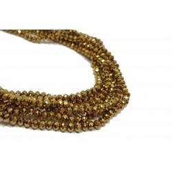 Koraliki szklane fasetowane 4x3mm sznur - złoty