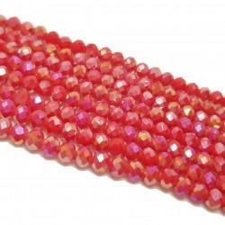 Koraliki szklane fasetowane 4x3mm czerwony AB sznur