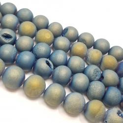 Agatowa druza 10mm kulka sznur - niebieski