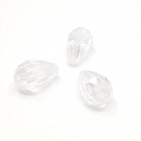 Koraliki szklane fasetowane krople 15x10mm - crystal ab