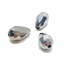 Koraliki szklane fasetowane krople 15x10mm - srebrny