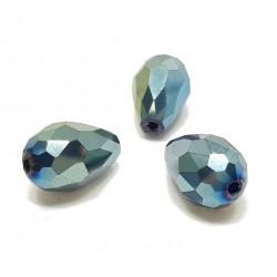 Koraliki szklane fasetowane krople 15x10mm - niebiesko-zielony