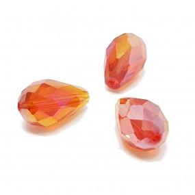 Koraliki szklane fasetowane krople 15x10mm - pomarańcz ab