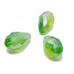 Koraliki szklane fasetowane krople 15x10mm - jasny zielony ab