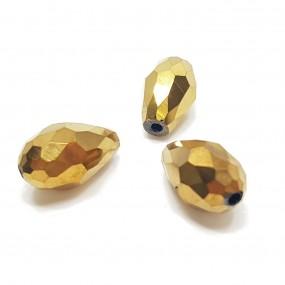 Koraliki szklane fasetowane krople 15x10mm - złoty