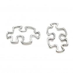 Zawieszka puzzle 30x18mm cyna - srebrny