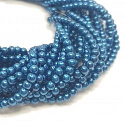 Perły szklane kulka 4mm sznur - ciemny niebieski