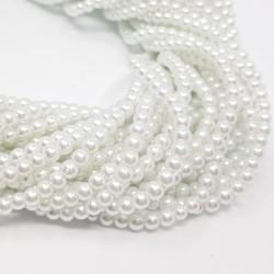 Perły szklane kulka 4mm sznur - biały