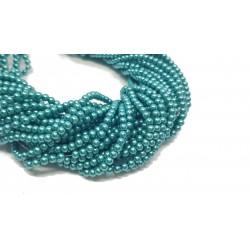 Perły szklane kulka 4mm sznur - morska zieleń