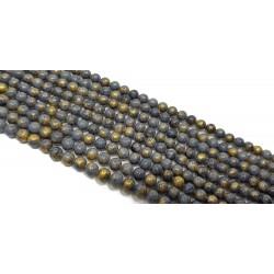 Jadeit 6mm gładka kulka sznur - szary ze złotym