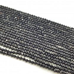 Onyks 2mm fasetowana kulka czarny - sznur