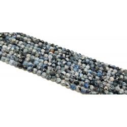Agat 4mm fasetowana kulka niebieski mix - sznur