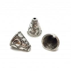 Nakładka / zakończenie stożek do biżuterii 13x12mm wzory stop cyny - srebrny