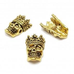 Przekładka czaszka z koroną 16x12mm stop cyny - antyczne złoto