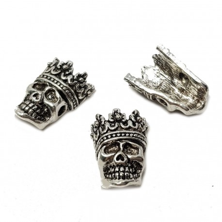 Przekładka czaszka z koroną 16x12mm stop cyny - antyczne srebro