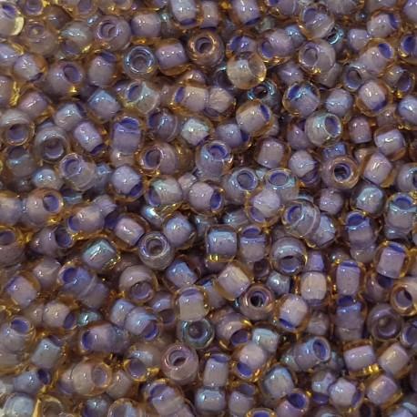 Koraliki TOHO round Tr-11-926 Inside-Color Lt Topaz/Opaque Lavender-Lined 10g
