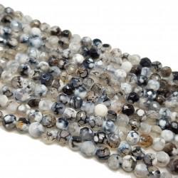 Agat 4mm fasetowana kulka biało-czarny mix - sznur