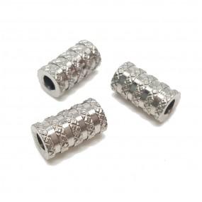 Przekładka tuba/tunel ozdobna11x6mm stal nierdzewna - platynowy