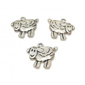 Zawieszka owca 18x16mm cyna - srebrny