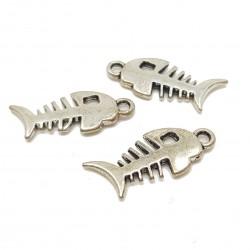 Zawieszka szkielet ryby 27x12mm cyna - srebrny