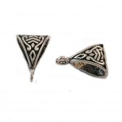 Krawatka ażurowa ozdobna 15x10mm cyna - srebrny