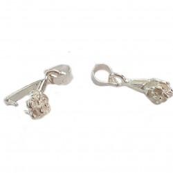 Krawatka łapki ozdobna róża do zaciskania koralików 14mm - srebrny
