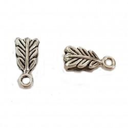 Krawatka ozdobna liść 14x6mm cyna - srebrny / 2 szt